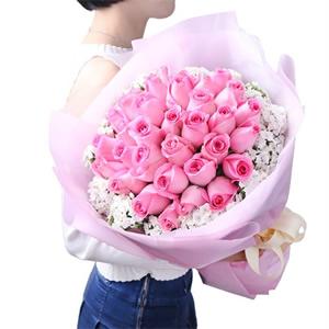 同城鲜花速递 33枝粉玫瑰花束A款
