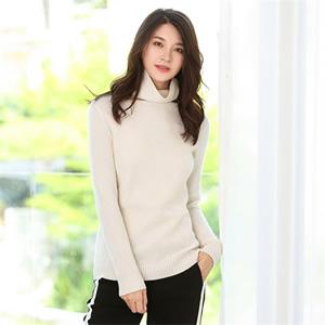 秋冬新款女士加厚羊绒衫混纺高领羊毛衫纯色套头打底衫长袖毛衣