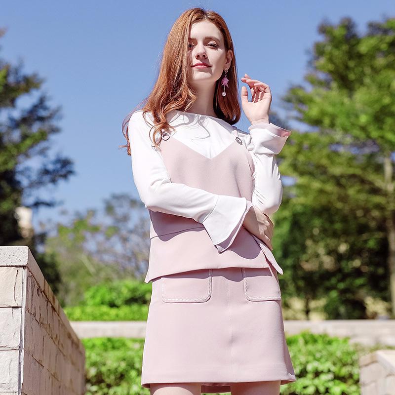 2018春季新款女装梭织衫半身裙三件套88179B