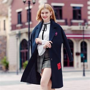 2017冬季新款品牌女装字母刺绣呢外套夹棉加厚淑女毛呢大衣96973
