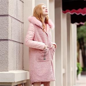 2017冬季新款品牌女装时尚毛领棉衣拼接连帽单排扣毛呢外套96977