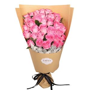 同城鲜花速递 33枝粉玫瑰花Q
