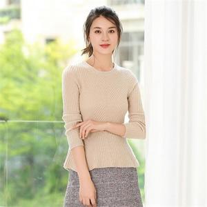 2017年秋冬新款女士羊绒衫时尚加厚羊毛衫圆领套头打底衫纯色毛衣