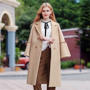 2017冬季新款韩版女装驼色气质翻领呢子大衣双排扣毛呢外套97071