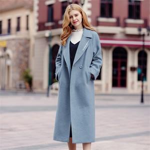 2017冬季新款品牌女装纯色直筒呢子大衣加厚双排扣毛呢外套97070