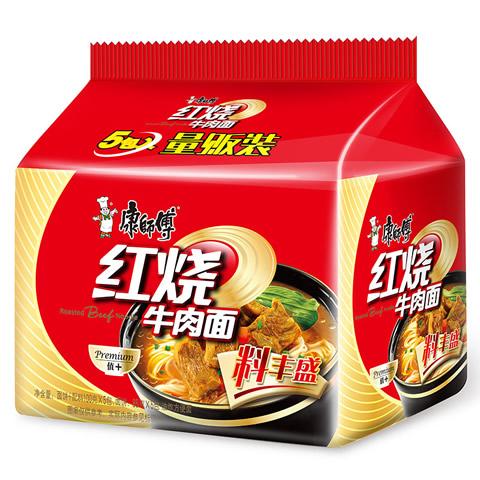 康师傅 料丰盛红烧牛肉面 100g*5/袋 方便面泡面