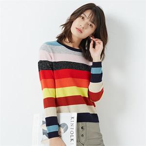 2017秋冬新品女士混纺羊毛衫时尚圆领羊绒衫拼接套头打底针织毛衣