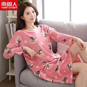 南极人秋冬圆领套头印花系列女士睡裙睡衣 多款式