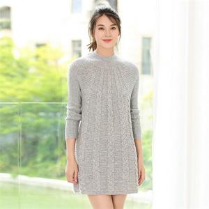 2017秋冬新款女士羊绒衫纯色套头羊毛衫高领加厚针织衫中长款毛衣