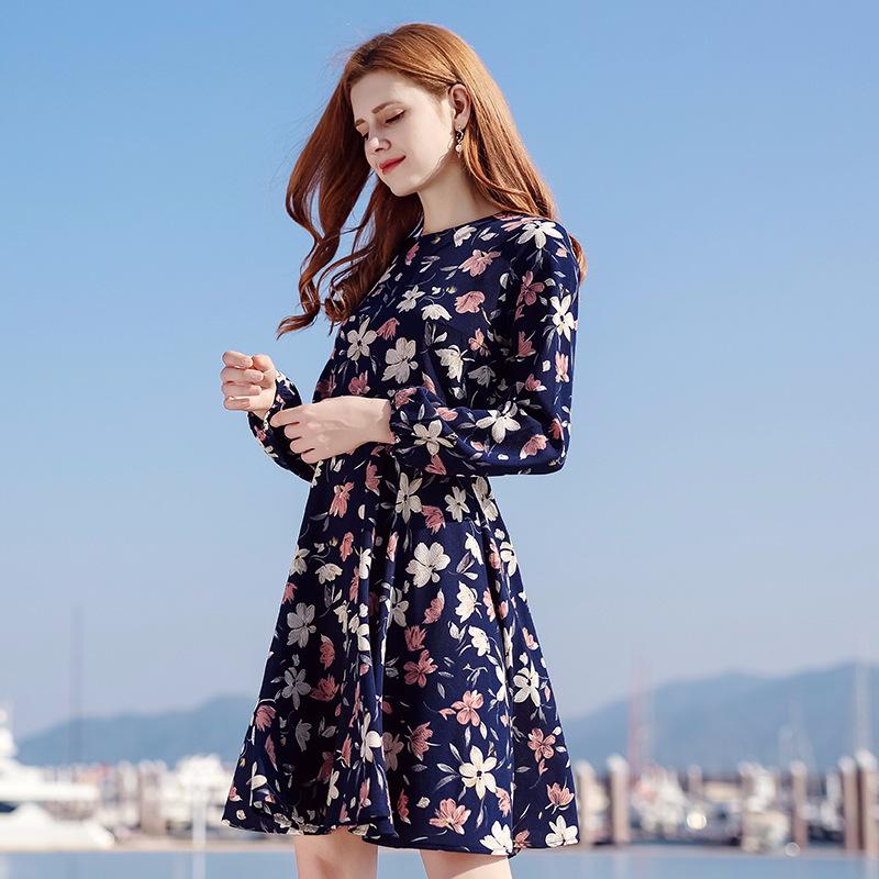 新款女装罗纹圆领针织裙松紧长袖印花连衣裙两件套88718