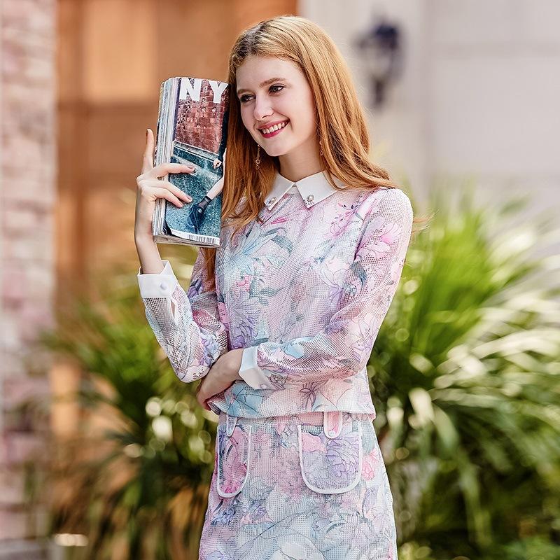 新款女装甜美娃娃领印花网纱两件套时尚套装裙26130